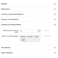Geoip Redirect - Configuration - Country to currency Redirect - Magento 2